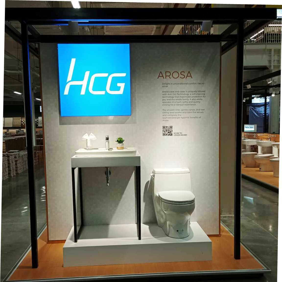 Arosa L6665countertop wash basin is paired with HCG's Arosa water closet